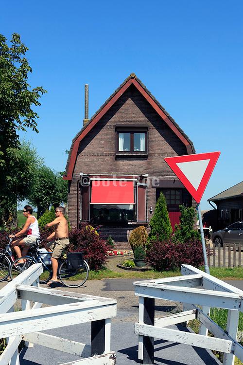 cycling through Dutch landscape North of Amsterdam, around Broek in Waterland