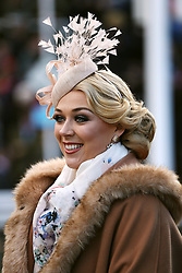 Ladies Day ambassador and Miss England Stephanie Hill during the New Year's Day meeting at Cheltenham Racecourse