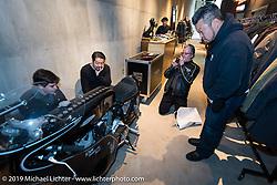 Visit to Shinsuke Takizawa's Neighborhood HQ and design studio. (L>R) Charlie Wartgow, Shinsuke Takizawa, Ray Drea and Dais Nagao. Tokyo, Japan. Thursday, December 11, 2014. Photograph ©2014 Michael Lichter.