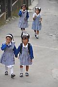 Young children in school uniform in Darjeeling, West Bengal, India
