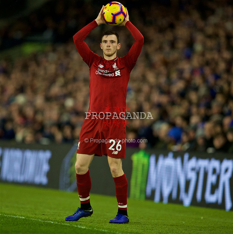 BRIGHTON AND HOVE, ENGLAND - Saturday, January 12, 2019: Liverpool's Andy Robertson prepares to take a throw-in during the FA Premier League match between Brighton & Hove Albion FC and Liverpool FC at the American Express Community Stadium. (Pic by David Rawcliffe/Propaganda)