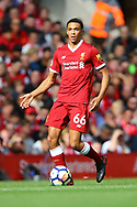 Trent Alexander-Arnold of Liverpool in action. Premier League match, Liverpool v Burnley at the Anfield stadium in Liverpool, Merseyside on Saturday 16th September 2017.<br /> pic by Chris Stading, Andrew Orchard sports photography.