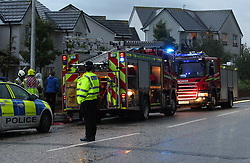 Lightning strike in Prestonpans 10 August 2019; Emergency services attend a Prestonpans house that was struck by lightning during a storm.<br /> <br /> (c) Chris McCluskie | Edinburgh Elite media