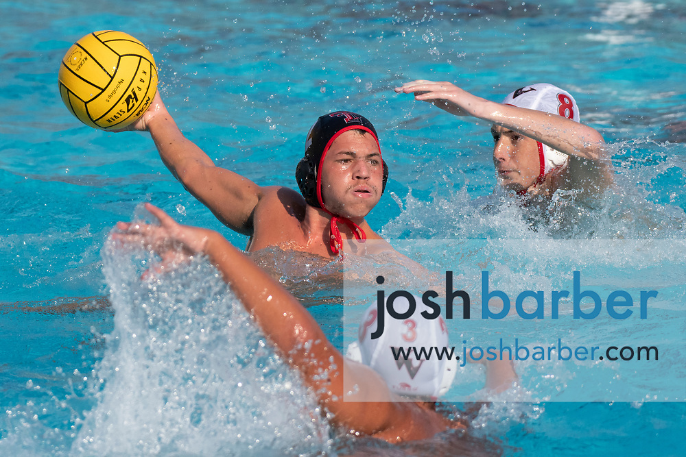 Tustin's Carlos Sabillon during the CIFS-SS Division 6 Championship Final at William Woollett Jr. Aquatic Center on Saturday, November 10, 2018 in Irvine, Calif. Valley View won 10-9. (Photo by Josh Barber, Contributing Photographer)