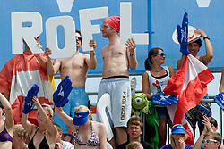 Fans with sing ROFL at A1 Beach Volleyball Grand Slam tournament of Swatch FIVB World Tour 2010, on July 31, 2010 in Klagenfurt, Austria. (Photo by Matic Klansek Velej / Sportida)