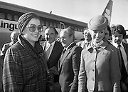 Princess Grace Arrives For The Theatre Festival. (M96)..1979..18.10.1979..10.18.1979..18th October 1979..Today saw the arrival of Princess Grace of Monaco,formerly the actress Grace Kelly,to Dublin to attend the Dublin Theatre Festival. The images show her arrival at Dublin Airport..Image shows Princess Grace being greeted by dignitaries as she disembarks from the Aer Lingus,Boeing 737 at Dublin Airport.An Aer Lingus Hostess is on hand to lend assistance.