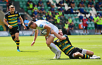 Rugby Union - 2020 / 2021 Gallagher Premiership - Round 21 - Northampton Saints vs Exeter Chief - Franklin Gardens.<br /> <br /> Exeter Chiefs' Joe Simmonds is tackled by Northampton Saints' Rory Hutchinson.<br /> <br /> COLORSPORT/ASHLEY WESTERN