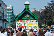 The welcome sign. Notting Hill Carnival, London, UK.