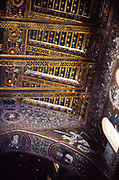 Detail of decorated roof inside Norman Cathedral of Monreale, Duomo of Monreale, near Palermo, Sicily, Italy, in 1999