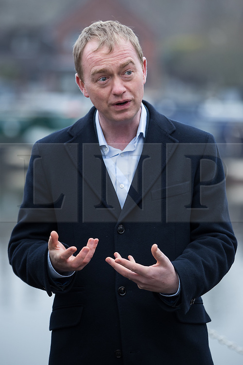© Licensed to London News Pictures . 14/02/2017 . Stoke-on-Trent , UK . Lib Dem leader TIM FARRON campaigning at Festival Park Marina in Etruria , in the Stoke Central by-election . Photo credit : Joel Goodman/LNP