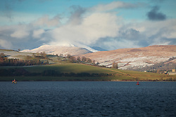 Hill landscape stormy snow sunshine clouds winter