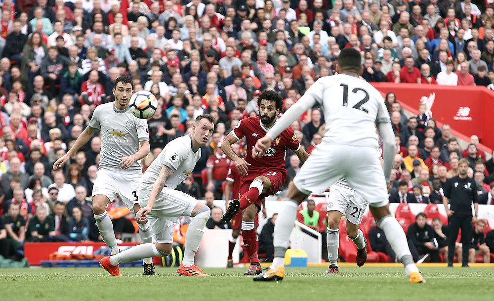 Liverpool's Mohamed Salah fails to hit the target with a chipped effort on goal<br /> <br /> Photographer Rich Linley/CameraSport<br /> <br /> The Premier League - Liverpool v Manchester United - Saturday 14th October 2017 - Anfield - Liverpool<br /> <br /> World Copyright © 2017 CameraSport. All rights reserved. 43 Linden Ave. Countesthorpe. Leicester. England. LE8 5PG - Tel: +44 (0) 116 277 4147 - admin@camerasport.com - www.camerasport.com