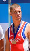 Seville. Andalusia. SPAIN. Men's Single Sculls, Bronze Medalist, NED M1X Roel BRAAS.  2013 FISA European Rowing Championship.  Guadalquivir River.  Sunday   02/06/2013  [Mandatory Credit. Peter Spurrier/Intersport]