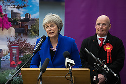 Maidenhead, UK. 13 December, 2019. Former Conservative Prime Minister Theresa May makes a speech after being re-elected as the Member of Parliament for the Maidenhead constituency.
