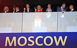 Left to right, Brigitte Macron, Emmanuel Macron, Gianni Infantino, Kolinda Grabar-Kitarovic, Jakov Kitarovic, Davor Suker in the stands before the FIFA World Cup 2018 final at the Luzhniki Stadium in Moscow, 15th July 2018