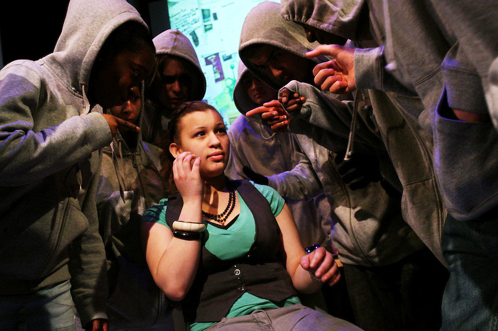 The life of Octavia Hill, acted by students odf Paddington Academy at Soho Theatre. ..Tavia (green T-shirt), the young Octavia Hill is played by Shaquilla Payne..Pictures by Jonathan Goldberg