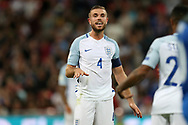 Jordan Henderson, the England captain looks on. FIFA World cup qualifying match, European group F, England v Slovakia at Wembley Stadium in London on Monday 4th September 2017.<br /> pic by Andrew Orchard, Andrew Orchard sports photography.