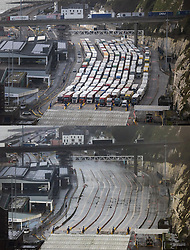 © Licensed to London News Pictures. 21/12/2020. Dover, UK. This combination image shows (top from 18/12/2020) trucks queuing up in the customs lanes at The Port of Dover compared with empty lanes today as the port is closed to outbound freight. France is among a number of countries to ban travel from the UK as Covid-19 infections rise dramatically and the possibility of a new mutant strain. Photo credit: Peter Macdiarmid/LNP