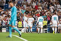 "Real Madrid's Karim Benzema, Marco Asensio, Carlos Henrique Casemiro, Francisco Roman ""Isco"" and Gareth Bale celebrating a goal during La Liga match between Real Madrid and Valencia CF at Santiago Bernabeu Stadium in Madrid, Spain August 27, 2017. (ALTERPHOTOS/Borja B.Hojas)"