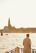 The Church of San Grorgio Maggiore on the district of Giudecca seen, from Fondameta Zattere Allo Spirito Santo. Venice, Italy, Europe