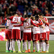 The New York Red Bulls team embrace before the start of the second half during the New York Red Bulls Vs Houston Dynamo, Major League Soccer regular season match at Red Bull Arena, Harrison, New Jersey. USA. 19th March 2016. Photo Tim Clayton