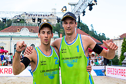 Jan Pokersnik and Nejc Zemjlak at Beach Volleyball Challenge Ljubljana 2014, on August 2, 2014 in Kongresni trg, Ljubljana, Slovenia. Photo by Matic Klansek Velej / Sportida.com