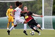 Waitakere United's Dylan Manickum and Canterbury's Francis de Vries contest for the ball. ISPS Handa Premiership, Waitakere United v Canterbury United Dragons, Trusts Stadium, Auckland, Sunday 14th January 2018. Copyright Photo: David Joseph