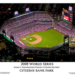 Aerial view of Game 4 of the 2008 World Series at Citizens Bank Park.  Philadelphia Phillies vs the Tampa Bay Rays.<br /> 22x28 Poster only $9.99 free shipping.<br /> Call or email to order<br /> 302-753-5406<br /> julia@aeroimaging.org