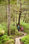 USA, Alaska,Tongass National Forest;Wrangell Island; A couple hiking along the Rainbow Falls Trail near Wrangell.