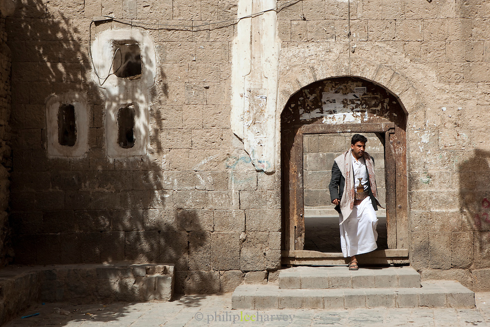 Local man exiting a mosque in Sana'a, Yemen