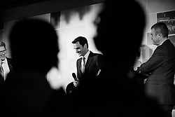 November 9, 2017 - London, England, United Kingdom - Roger Federer of Switzerland talks at The Official Launch for ATP Finals is held at the Tower of Lindon prior to the start of ATP World Tour Finals Tennis at O2 Arena, London on November 9, 2017. (Credit Image: © Alberto Pezzali/NurPhoto via ZUMA Press)