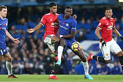 5 November 2017 - Premier League Football - Chelsea v Manchester United - Antonio Rudiger of Chelsea blocks Marcus Rashford of Man Utd - Photo: Charlotte Wilson / Offside