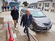 03 JANUARY 2020 - MONTEZUMA, IOWA: JOHN DELANEY walks down the street to a campaign stop to Montezuma, IA. Delaney, a former Democratic Congressman from Maryland, was the first Democrat to declare his candidacy for President in 2020, He has held more than 400 campaign events in Iowa since declaring his candidacy. Iowa traditionally holds the first selection event of the presidential election cycle. The Iowa Caucuses are Feb. 3.      PHOTO BY JACK KURTZ