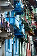 Old but colorful buildings in Casco Viejo - San Felipe, Panama.