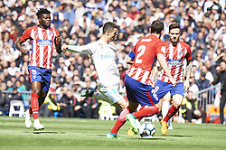 April 8, 2018 - Madrid, Spain - Diego Godin (defender; Atletico Madrid), Cristiano Ronaldo (forward; Real Madrid) in action during La Liga match between Real Madrid and Atletico de Madrid at Santiago Bernabeu on April 8, 2018 in Madrid, Spain (Credit Image: © Jack Abuin via ZUMA Wire)