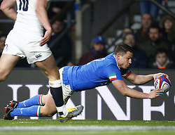 March 9, 2019 - London, England, United Kingdom - London, ENGLAND, 9th March .Luca Morisi of Italy  goes over for his Try.during the Guinness 6 Nations Rugby match between England and Italy at Twickenham  stadium in Twickenham  England on 9th March 2019. (Credit Image: © Action Foto Sport/NurPhoto via ZUMA Press)