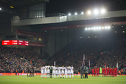 Halbfinale im Liga-Pokal Liverpool vs Leeds 1:0 in Liverpool / 291116<br /> <br /> ***LIVERPOOL, ENGLAND 29TH NOVEMBER 2016:<br /> Players line up at Anfield Stadium in Liverpool  before the English League Cup soccer match between Liverpool and Leeds in tribute to the members of Chapecoense football team from Brazil who died in a plane crash in Colombia en route to play in the final of the Copa Sudamericana England November 29th 2016***