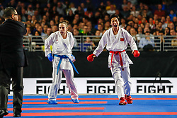 November 10, 2018 - Madrid, Madrid, Spain - Yin Xiaoyan (CHN) figth with Prekovic Jovana (SRB) for the gold medal and win the tournament of Female Kumite -61 Kg during the Finals of Karate World Championship celebrates in Wizink Center, Madrid, Spain, on November 10th, 2018. (Credit Image: © AFP7 via ZUMA Wire)