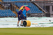 Groundsmen mopping up before the Vitality T20 Blast North Group match between Yorkshire Vikings and Leicestershire Foxes at Emerald Headingley Stadium, Leeds, United Kingdom on 2 September 2020.
