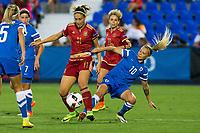 Finland's Emma Koivisto and Emmi Alanen and Spain's Alexia Putellas during the match of  European Women's Championship 2017 at Leganes, between Spain and Finland. September 20, 2016. (ALTERPHOTOS/Rodrigo Jimenez)