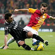 Galatasaray's Emre Colak (R) during their Turkish Super League soccer match Galatasaray between Manisaspor at the TT Arena at Seyrantepe in Istanbul Turkey on Wednesday, 21 December 2011. Photo by TURKPIX