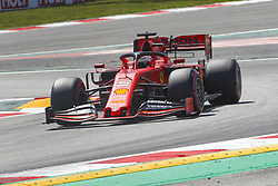 May 11, 2019 - Barcelona, Catalonia, Spain - Ferrari driver Sebastian Vettel (5) of Germany during F1 Grand Prix qualifying celebrated at Circuit of Barcelona 11th May 2019 in Barcelona, Spain. (Credit Image: © Mikel Trigueros/NurPhoto via ZUMA Press)