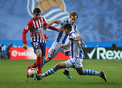 March 3, 2019 - San Sebastian, Guipuzcoa, Spain - Morata of Atletico de Madrid and Zurutuza of Real Sociedad in action during La Liga Spanish championship, , football match between Real Sociedad and Atletico de Madrid , March 03th, in Anoeta Stadium in San Sebastian, Spain. (Credit Image: © AFP7 via ZUMA Wire)