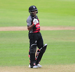 Mahela Jayawardene of Somerset celebrates his century.  - Mandatory by-line: Alex Davidson/JMP - 17/08/2016 - CRICKET - Cooper Associates County Ground - Taunton, United Kingdom - Somerset v Worcestershire Rapids - Royal London One Day Cup Quarter Final