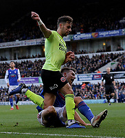 Sheffield United's Oliver Norwood battles with  Ipswich Town's Jonas Knudsen<br /> <br /> Photographer Hannah Fountain/CameraSport<br /> <br /> The EFL Sky Bet Championship - Ipswich Town v Sheffield United - Saturday 22nd December 2018 - Portman Road - Ipswich<br /> <br /> World Copyright © 2018 CameraSport. All rights reserved. 43 Linden Ave. Countesthorpe. Leicester. England. LE8 5PG - Tel: +44 (0) 116 277 4147 - admin@camerasport.com - www.camerasport.com