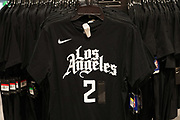 LA Clippers City Edition T-shirt with No 2 jersey of Kawhi Leonard at Dick's Sporting Goods at the Glendale Galleria indoor shopping mall, Friday, Dec. 4, 2020, in Glendale, Calif.