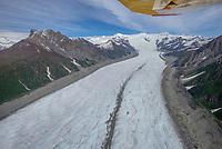 Aerial of the Donoho Peak, Root Glacier and Stairway Icefalls Wrangell-St. Elias National Park, Alaska.