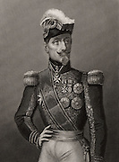 Jacques Le Roy de Saint Arnaud (1796-1854) French military commander.  War minister to Napoleon III (1851-1854); Marshal of France; Commanded the French forces during the Crimean (Russo-Turkish) War. He died on the way home after the Battle of Alma. Engraving.