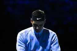 November 16, 2017 - London, England, United Kingdom - Roger Federer of Switzerland walks out on court for his third and final round robin match against Marin Cilic of Croatia during the Nitto ATP World Tour Finals at O2 Arena on November 16, 2017 in London, England. (Credit Image: © Alberto Pezzali/NurPhoto via ZUMA Press)