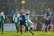 Wycombe Wanderers midfielder Curtis Thompson(18) battles withPlymouth Argyle forward Ryan Taylor (9) during the EFL Sky Bet League 1 match between Wycombe Wanderers and Plymouth Argyle at Adams Park, High Wycombe, England on 26 January 2019.